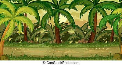 separado, camadas, paisagem, natureza, primavera, fim, jogo, vetorial, desenho, floresta, fundo