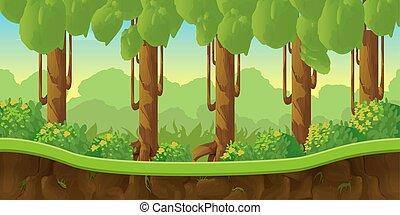 separado, camadas, paisagem, seamless, efeito, fantasia, jogo, vetorial, parallax, fundo