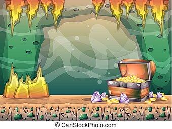 separado, camadas, vetorial, caverna, jogo, animação, caricatura