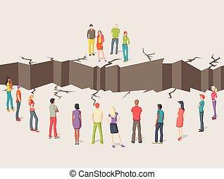 separado, gente, dos, floor., grupos, agrietado