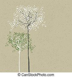 separado, hojas, árboles, fondo., vector., tronco, layers.