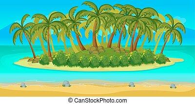 separado, paisagem, ilha, unending, jogo, vetorial, fundo, layers.