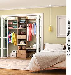 separat, room., sovrum, illustration, doors., påklädning, glidande, 3