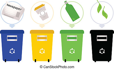 Set of recycle trash bins. Vector Illustration