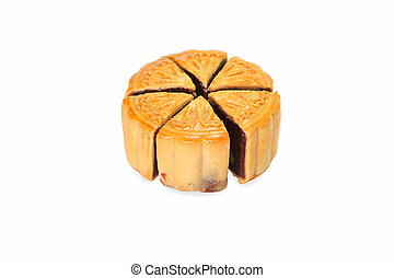 Separate Moon cake on white background