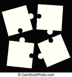 separate white puzzle pieces on black background - jigsaw