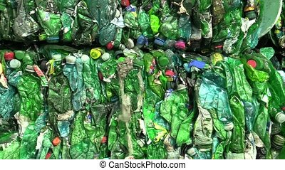 Separated and pressed green and transparent plastic bottles...
