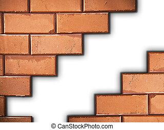 Separated brick wall