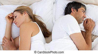 separately, désordre, couple, dormir