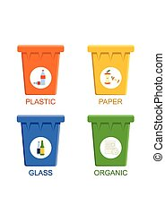 Separation recycling bins Waste management concept