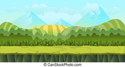separato, carino, estate, seamless, illustrazione, cartone animato, livelli, 1024x512, giorno, paesaggio