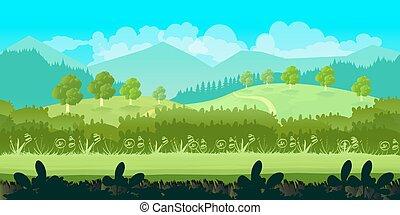 separato, carino, estate, seamless, illustrazione, cartone animato, livelli, giorno, paesaggio