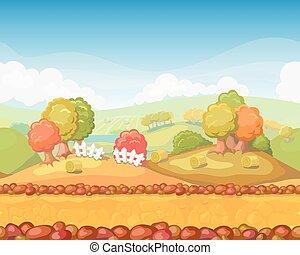 separato, carino, seamless, illustrazione, cartone animato, autunno, livelli, giorno, paesaggio