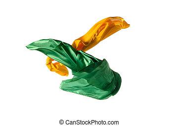 separato, elegante, liscio, stoffa, giallo, verde, fondo., bianco, trasparente