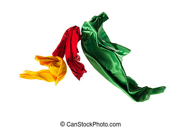 separato, elegante, liscio, stoffa, giallo, verde, fondo., bianco, trasparente, rosso
