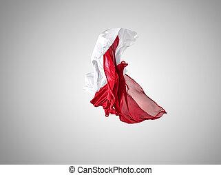 separato, grigio, fondo., elegante, liscio, stoffa, bianco, trasparente, rosso