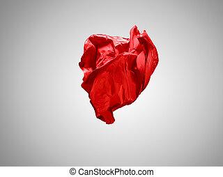 separato, grigio, fondo., elegante, liscio, stoffa, trasparente, rosso