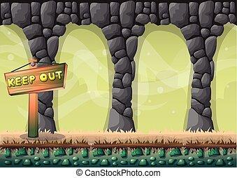 separato, livelli, vettore, caverna, gioco, animazione,...