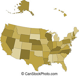 separato, mappa, stati uniti, -, stati, vettore, gruppi