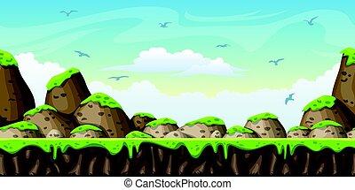 separato, natura, seamless, illustrazione, fondo., vettore, layers., cartone animato
