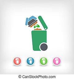 separato, spreco, collezione, icona