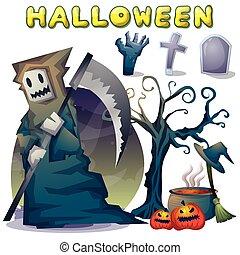 separerat, lagrar, objekt, halloween, vektor, tecknad film