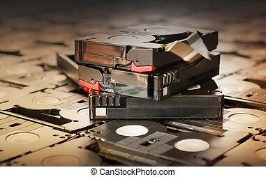Sepia antique colour abandoned pile of old useless mini DV (video recording cassette tape)
