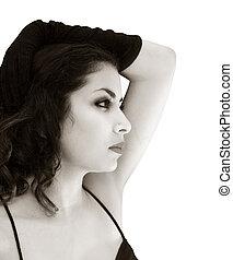 Sepia beautiful woman