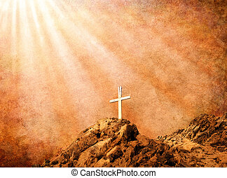Sepia Cross - A Christian cross with spiritual light rays...