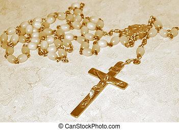 sepia, cuentas, rosario