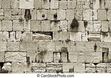 sepia cut out of the wailing western wall, jerusalem, israel