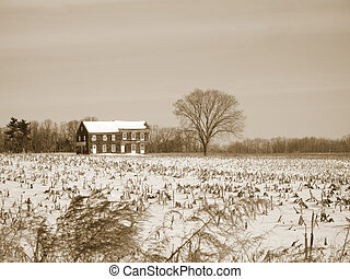 Sepia Farm House - This is a sepia toned photo of the...