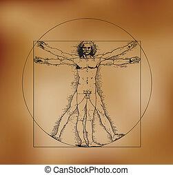 sepia, hombre de vitruvian, crosshatching, tonos
