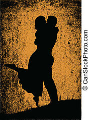 Old fashioned sepia background to a first kiss