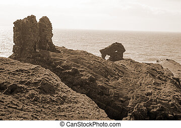sepia lick castle in county kerry ireland