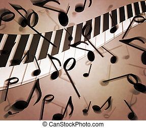 sepia, música, fundo, textura