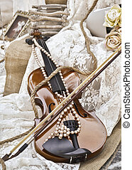 sepia, ouderwetse , viool, -, trouwfeest, deco
