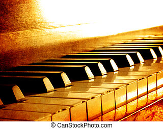 Closeup of black and white piano keys and wood grain with sepia tone
