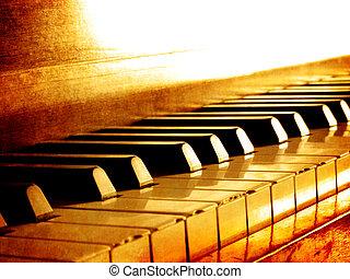 Sepia Piano Keys - Closeup of black and white piano keys and...