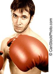 sepia, retrato, de, un, joven, boxeador