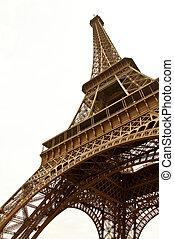 sepia., símbolo, eiffel, paris., fondo., torre, blanco