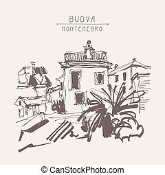 sepia sketch drawing of historical building with palm in...
