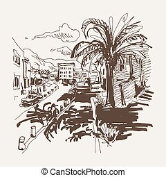 sepia sketch drawing of Petrovac Montenegro street with...