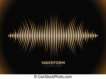 Sepia sound waveform - Sepia retro sound waveform with sharp...