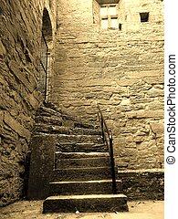 Sepia steps in Irish Abbey