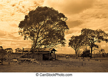 sepia style image of an old farm in disrepair with falling down shed