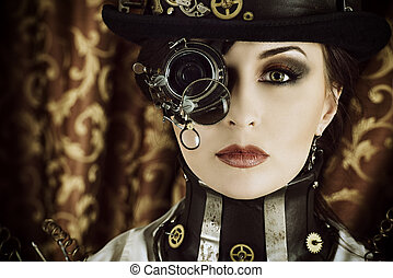 sepia style - Portrait of a beautiful steampunk woman over...