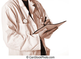Sepia tone photo of a doctor taking a patients medical history