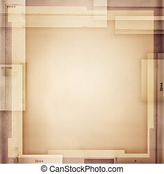 sepia toned background - designed collage of film strips,...