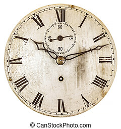 Sepia toned image of an old clock face isolated on a white...